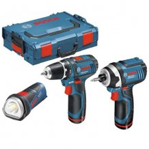 Набор шуруповерт Bosch GSR 10.8 V-Li + гайковерт Bosch GDR 10.8-Li + фонарь Bosch GLI 10.8 V-Li + L-Boxx